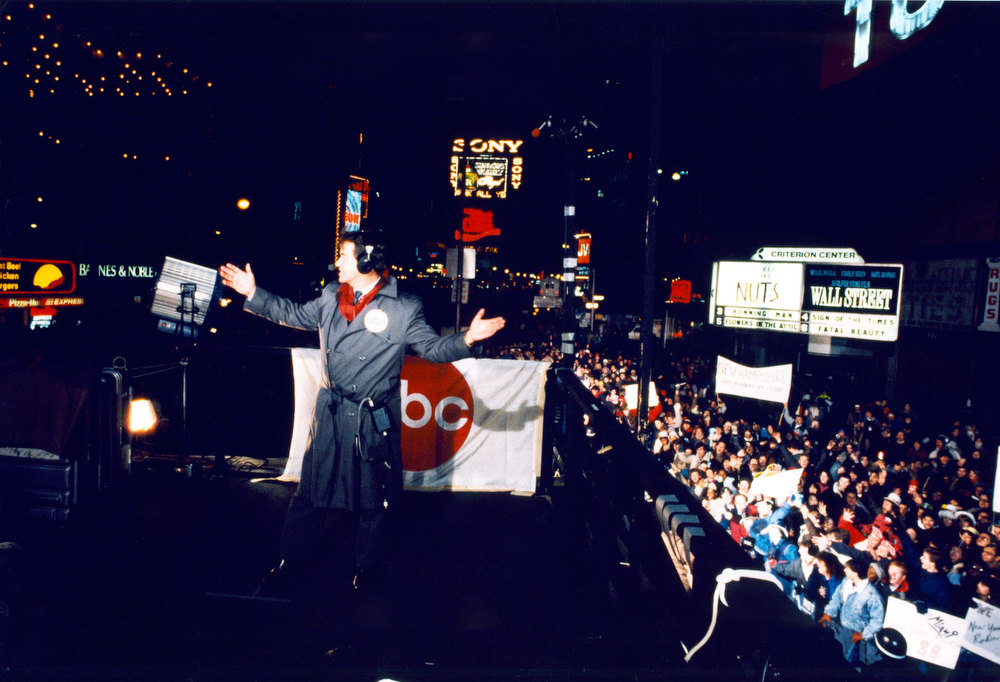 . NYRE 1987 Dick Clark on camera in Times Square