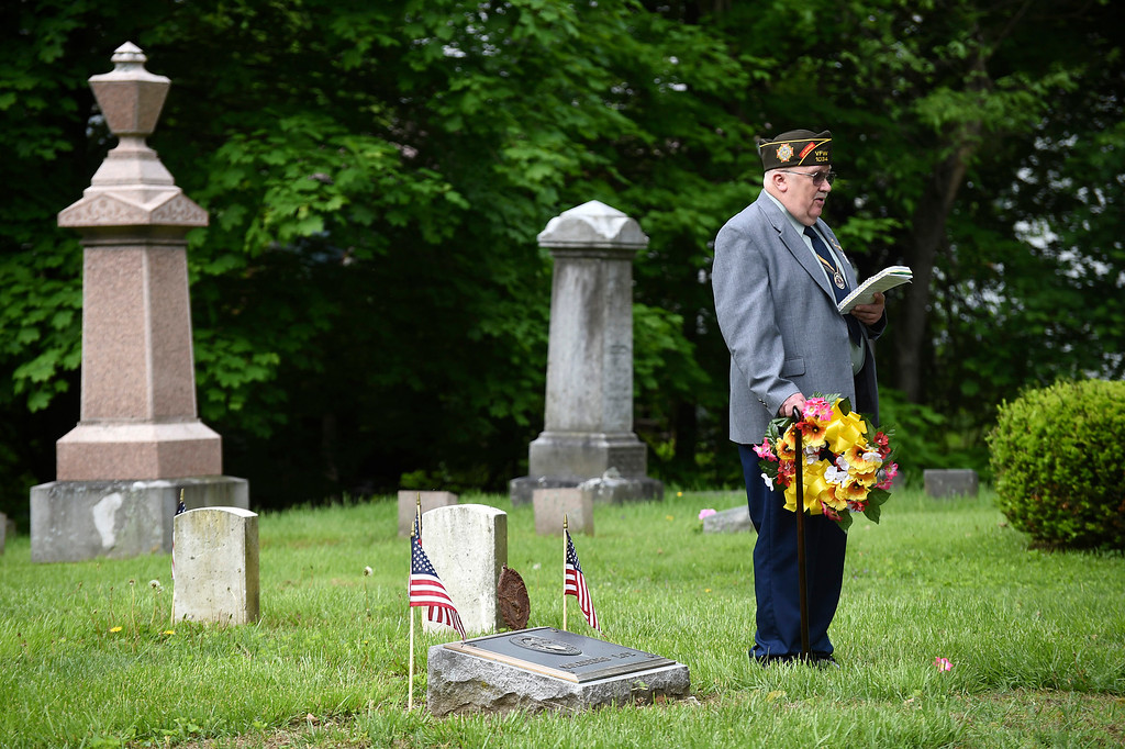 . Kayla Rice/Reformer American Legion Post 5 chaplain E. David Wright speaks during the wreath-laying ceremony at the Memorial Day service in Brattleboro\'s Prospect Hill cemetery on Monday morning.