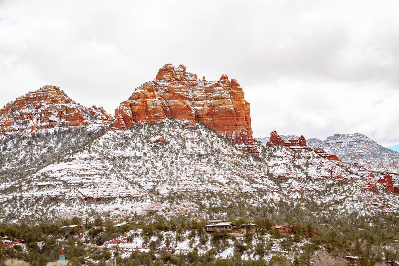 Snow Covered Sednoa Arizona with Red Rocks