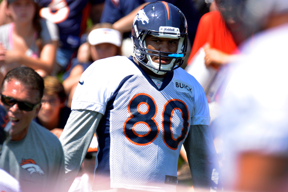 . Denver Broncos TE Julius Thomas (80) looks on during training camp July 26, 2013 at Dove Valley. (Photo By John Leyba/The Denver Post)