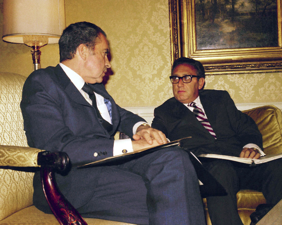 . 1972: Richard Nixon and Henry Kissinger. President Richard Nixon with Henry Kissinger, as they meet at the Waldorf Hotel in New York on Nov. 25, 1972 after Dr. Kissinger returned from the Paris peace talks. (AP Photo/Ron Frehm )