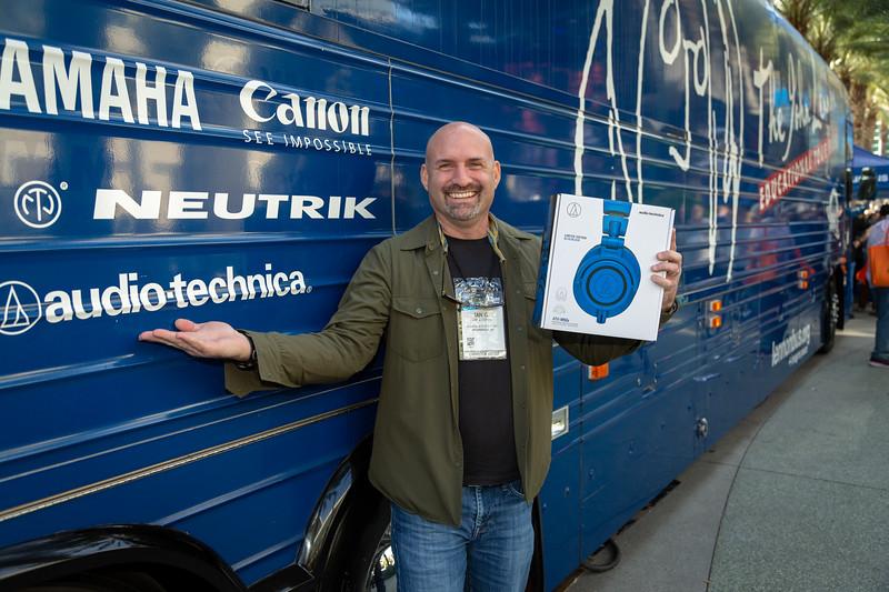 2019_01_24, Anaheim, Bus, CA, Exterior, Giveaway, Giveaways, NAMM, Audio-Technica