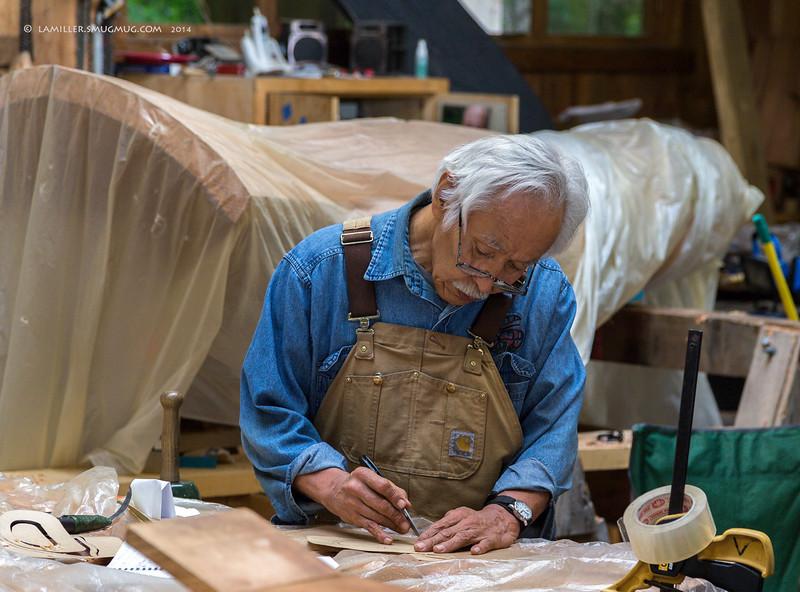 American artist Nathan Jackson works in his shop at the Saxman Village in Ketchikan, Alaska.