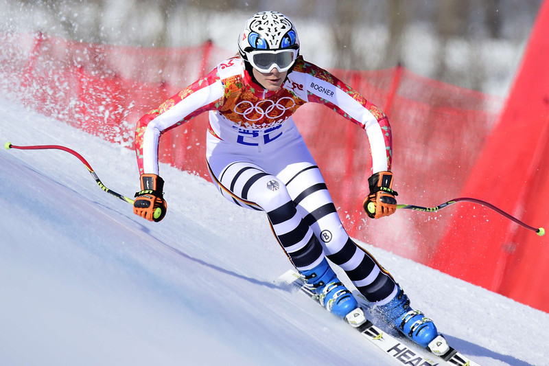 . Germany\'s Maria Hoefl-Riesch competes during the Women\'s Alpine Skiing Super-G at the Rosa Khutor Alpine Center during the Sochi Winter Olympics on February 15, 2014.  (OLIVIER MORIN/AFP/Getty Images)