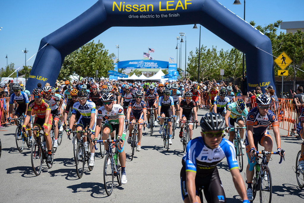 . The start of Stage 3 of the Amgen Tour of California.  Stage 3 winds from Palmdale to Santa Clarita.    Photo by David Crane/Staff Photographer