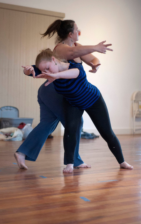 . Kayla Rice/Reformer                                 IBIT (Intrinsic Beauty of Invisible Things) dancers Genevieve Amarante and Brenda Lynn Siegel dance during a rehearsal in Brattleboro on Tuesday afternoon.