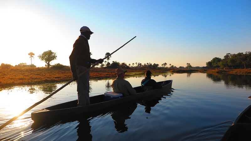 Man poles a mokoro with two riders as the boat glides through the Oavango Delta.