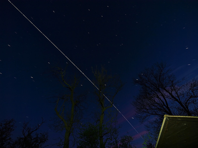 International Space Station (ISS) captured above the UK skies on BH Monday 3 May 2010, 2146hrs passing. Super bright this evening. Captured with Olympus E3, 7-14mm, 5s exposures shot continuous though pass.