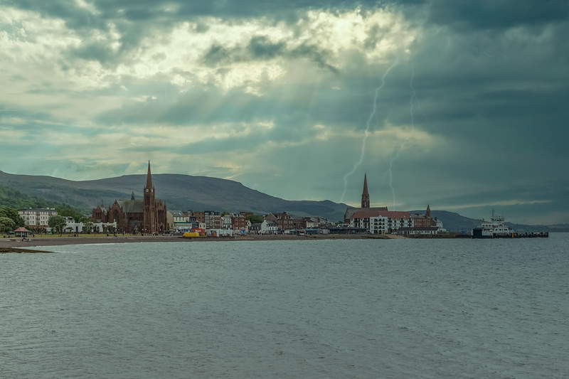 Largs Town on the West Coast of Scotland  just as it was about to be hit with Thunder Lightning and heavy Rain.