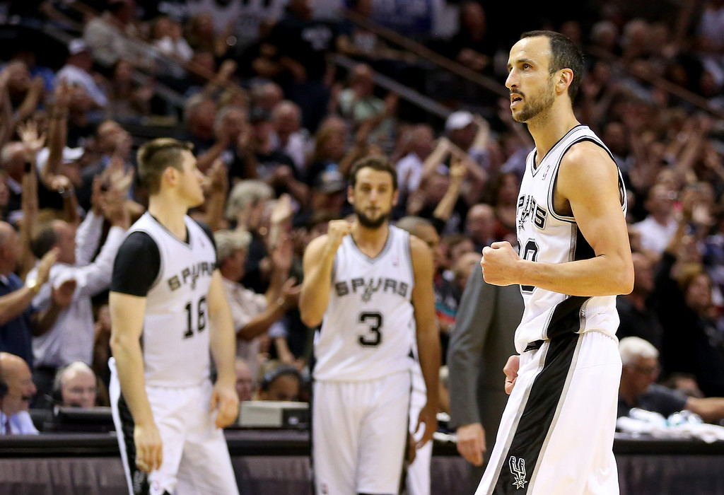 . Manu Ginobili #20 of the San Antonio Spurs reacts in the fourth quarter while taking on the Oklahoma City Thunder in Game One of the Western Conference Finals during the 2014 NBA Playoffs at AT&T Center on May 19, 2014 in San Antonio, Texas.  (Photo by Ronald Martinez/Getty Images)