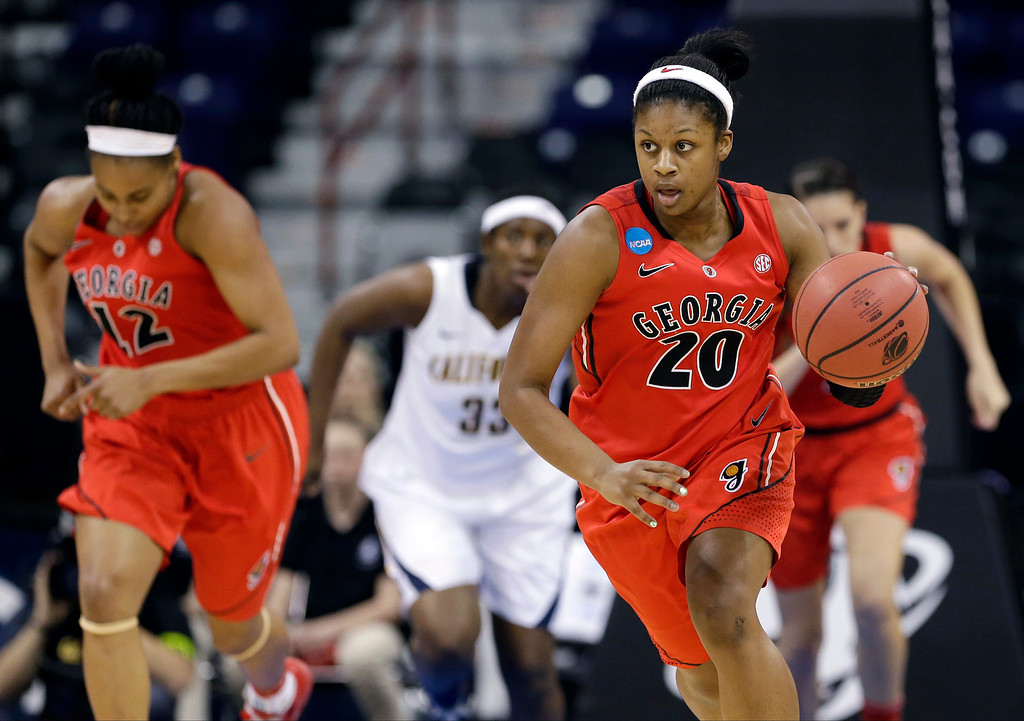 . Georgia\'s Shacobia Barbee (20) races up court against California during the first half in a regional final in the NCAA women\'s college basketball tournament, Monday, April 1, 2013, in Spokane, Wash. (AP Photo/Elaine Thompson)