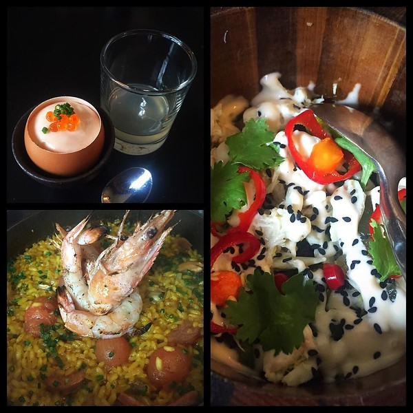 """On the table tonite via @giuseppetentori and his team from upper left: GT """"deviled egg""""; shishito pepper with lump crab, yellow watermelon, cilantro; prawns with saffron rice"""