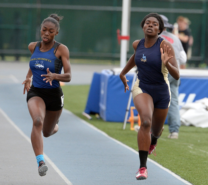 . Los Osos\' Aminat Iriafen competes in the division 1 200 meters race during the CIF Southern Section track and final Championships at Cerritos College in Norwalk, Calif., Saturday, May 24, 2014.   (Keith Birmingham/Pasadena Star-News)