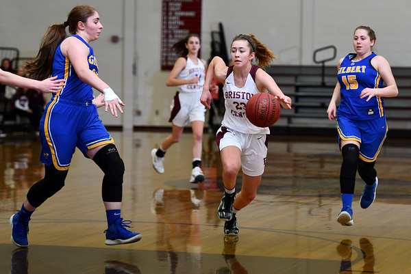 12/31/2019 MIke Orazzi | StaffrBristol Central's Ella Watson (23)during Tuesday's girls basketball game with Gilbert at Bristol Central in Bristol.