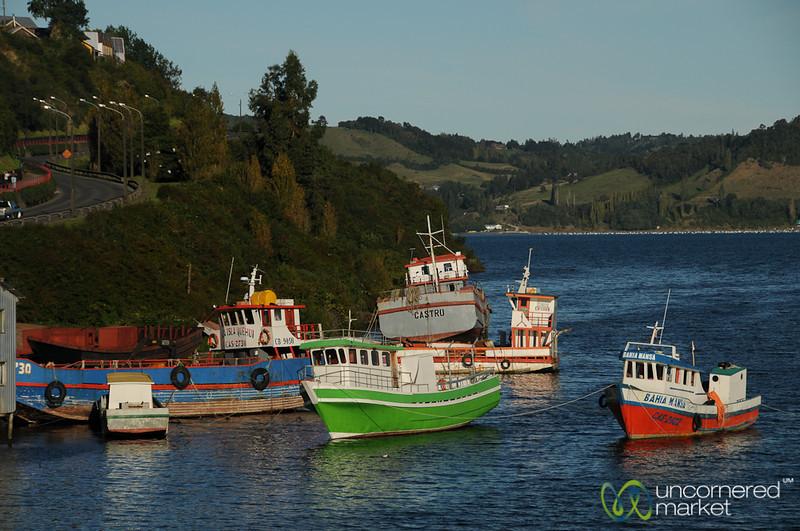 Colorful Boats Anchored at Castro - Chiloe Island, Chile
