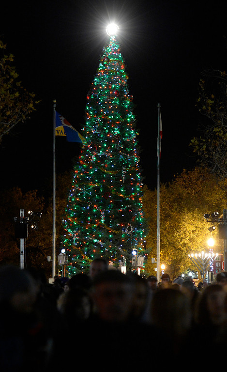 . Crowds mill about Main St. in downtown Vacaville watch as the lights on the Vacaville Christmas Tree are lit during the 31st  annual Merriment on Main celebration on Tuesday, December 3, 2013. .Joel Rosenbaum/JRosenbaum@TheReporter.com