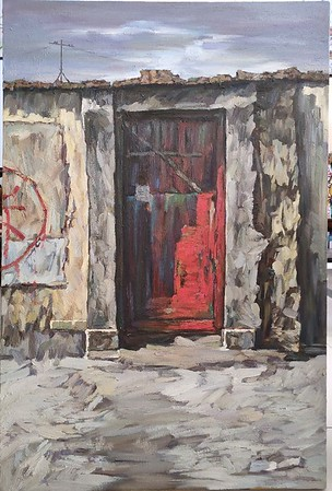 """""""Tear down the disappearing Red Gate"""" (oil on linen) by Qiang Chen"""