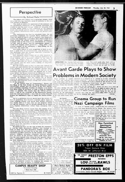 Summer Trojan, Vol. 11, No. 9, July 20, 1961
