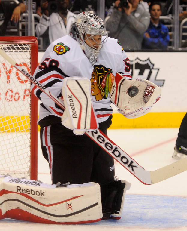 . Blackhawks\' goalie Corey Crawford makes a stop against the Kings during game six of the Western Conference Finals, Friday, May 30, 2014, at Staples Center. (Photo by Michael Owen Baker/Los Angeles Daily News)