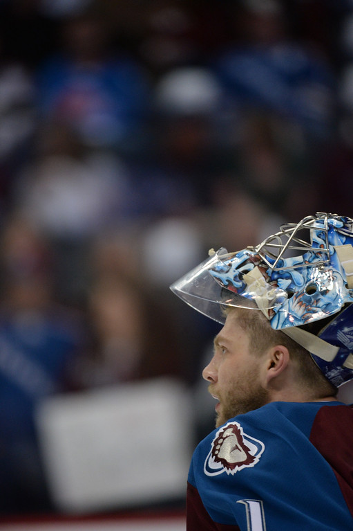 . Semyon Varlamov (1) of the Colorado Avalanche warms up before the game. The Colorado Avalanche hosted the Minnesota Wild in the first round of the Stanley Cup Playoffs at the Pepsi Center in Denver, Colorado on Saturday, April 19, 2014. (Photo by Karl Gehring/The Denver Post)