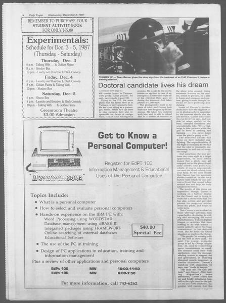 Daily Trojan, Vol. 105, No. 61, December 02, 1987