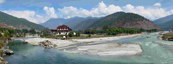 Another view of the Dzong (fortress) at the confluence of the father and mother river.