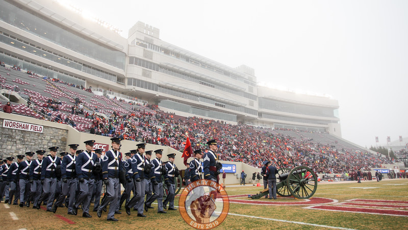 The Virginia Tech Corps of Cadets marches into a foggy Lane Stadium before kickoff. (Mark Umansky/TheKeyPlay.com)