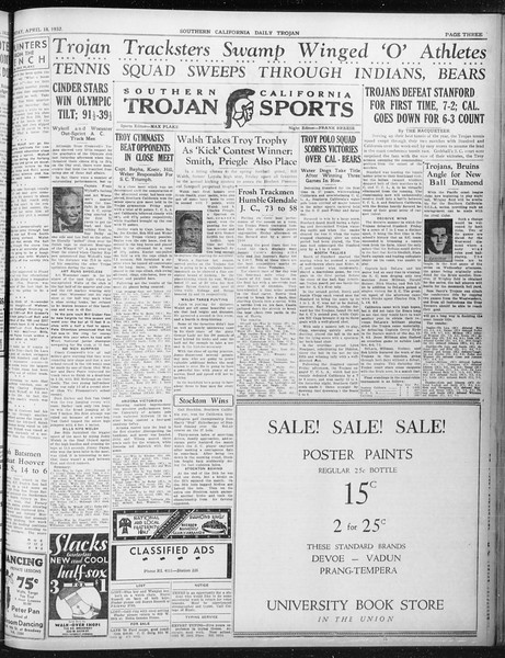 Daily Trojan, Vol. 23, No. 127, April 18, 1932