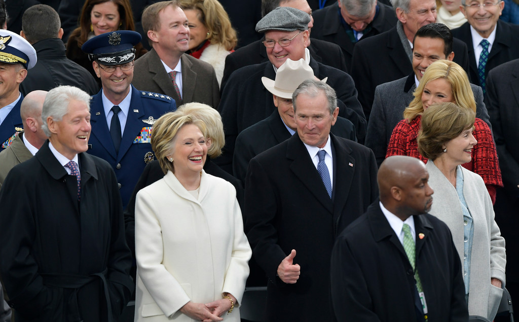 . Former President George W. Bush, right, his wife Laura, Former Secretary of State Hillary Clinton and Former President Bill Clinton wait for the 58th Presidential Inauguration for President-elect Donald Trump at the U.S. Capitol in Washington, Friday, Jan. 20, 2017. (AP Photo/Susan Walsh)