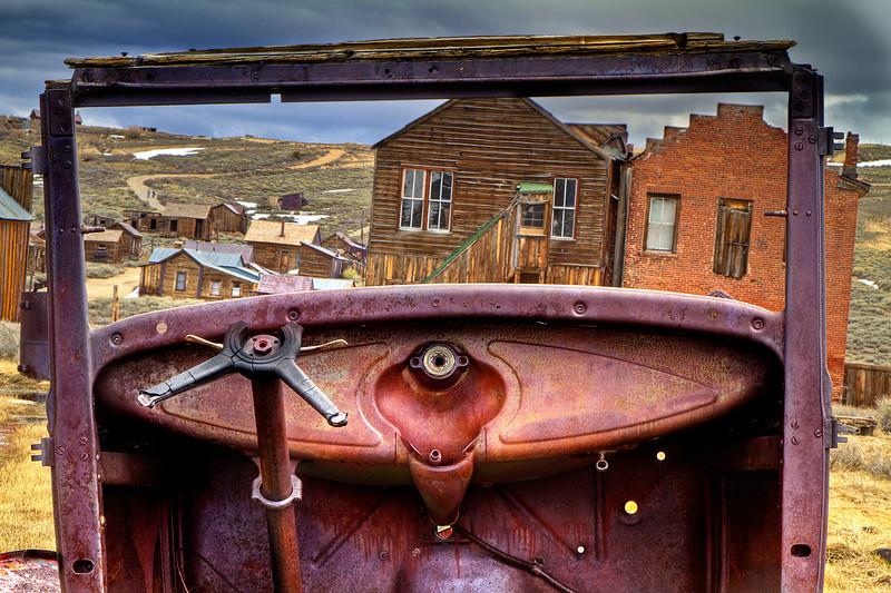 Ghost town thru a broken windshield