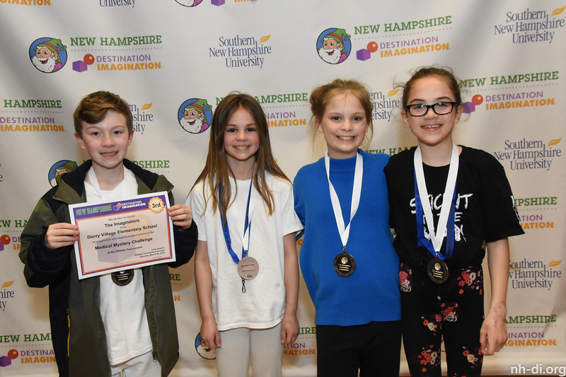 3rd place. 130-74260 ,Derry Village Elementary School, The Imaginators, Derry, NH, Scientific Challenge- Medical Mystery , Elementary Level