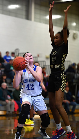 2/20/2020 Mike Orazzi | StaffrBristol Eastern's Avery Arbuckle (42) during Thursday night's CCC girls basketball game with East Hartford in Bristol. r