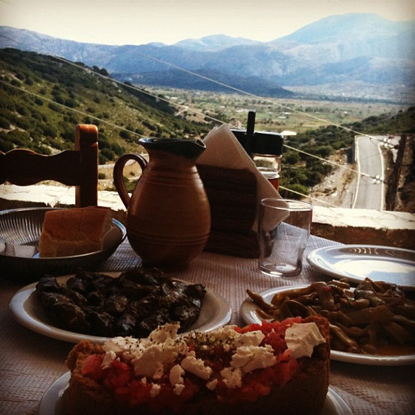 Delicious Crete lunch with a view near Lassithi Plateau.