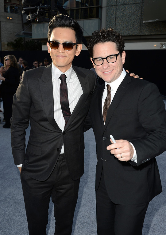 """. Actor John Cho (L) and Director/Producer J.J. Abrams arrive at the Premiere of Paramount Pictures\' \""""Star Trek Into Darkness\"""" at Dolby Theatre on May 14, 2013 in Hollywood, California.  (Photo by Kevin Winter/Getty Images for Paramount Pictures)"""