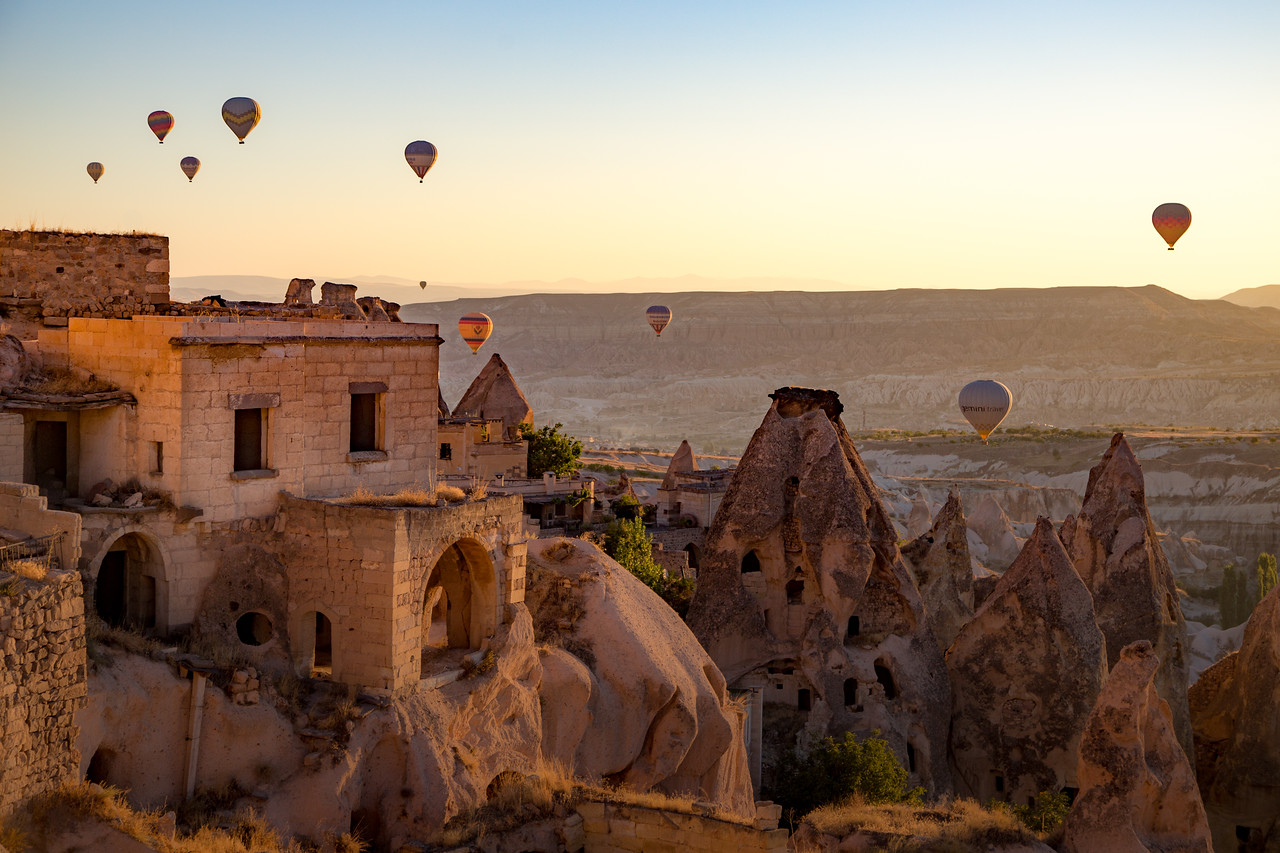 Morning View of Pigeon Valley from the Taskonaklar Cave Hotel in Cappadocia, Turkey