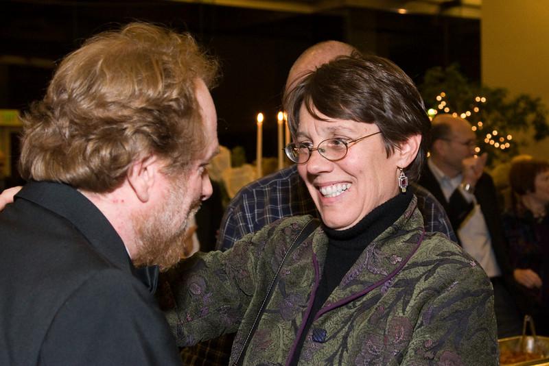 Mary Ellen Porter greets Max Derrickson -- HSO 25th anniversary post-concert Gala