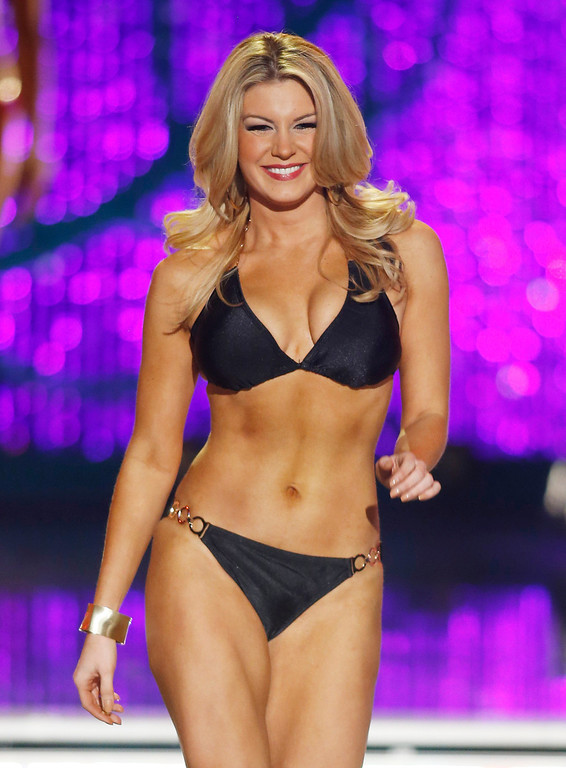. Miss New York Mallory Hytes Hagan competes in the swimsuit portion of the Miss America 2013 pageant on Saturday, Jan. 12, 2013, in Las Vegas. (AP Photo/Isaac Brekken)