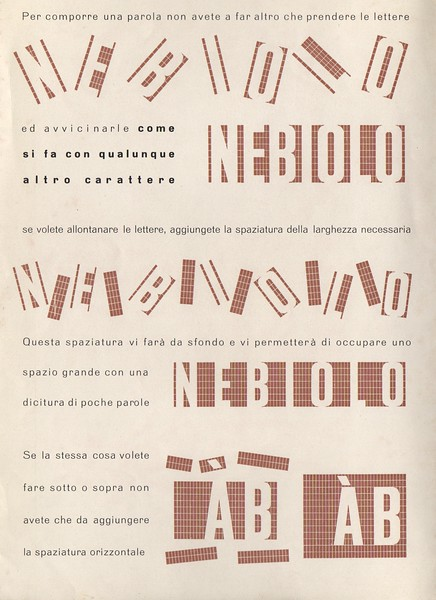 Prospectus of the rationalist-constructivist ornament Razionale, by Giulio Da Milano for Nebiolo, 1935.