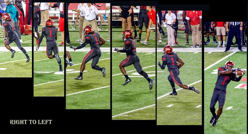 Davis intercepts (right) and runs back for 58 yards.