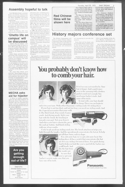 Daily Trojan, Vol. 64, No. 108, April 20, 1972