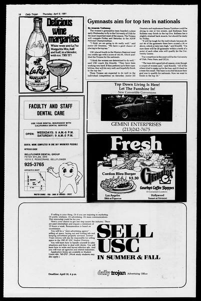 Daily Trojan, Vol. 90, No. 44, April 09, 1981