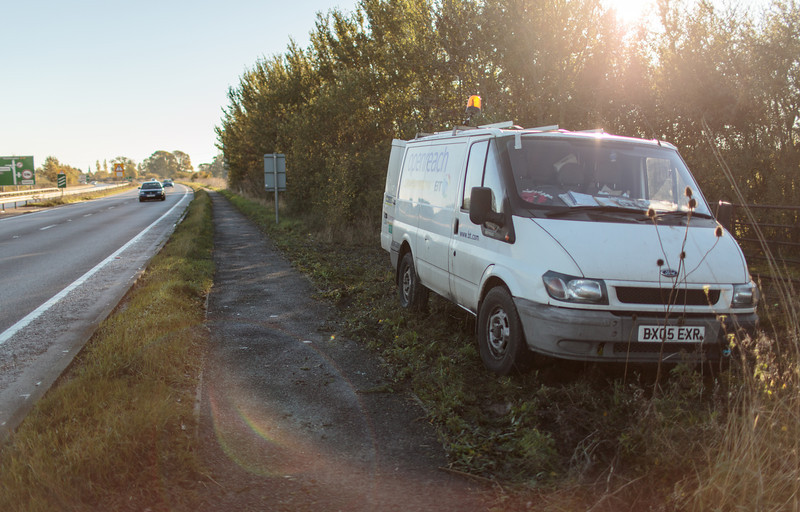A new Openreach engineer arrives and parks his van off the A14 (10 November 2013). For more information, visit http://www.increasebroadbandspeed.co.uk/cambridgeshire