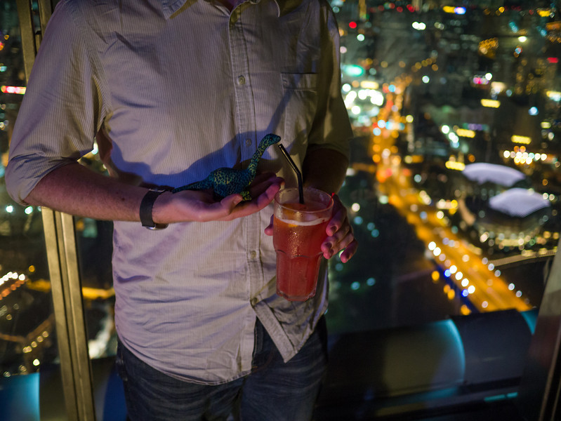 Dyno Saur drinking a Singapore Sling