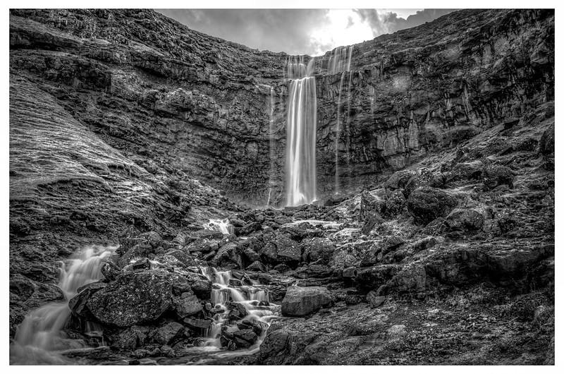 Faroe Waterfall 2     Black and White Photography by Wayne Heim