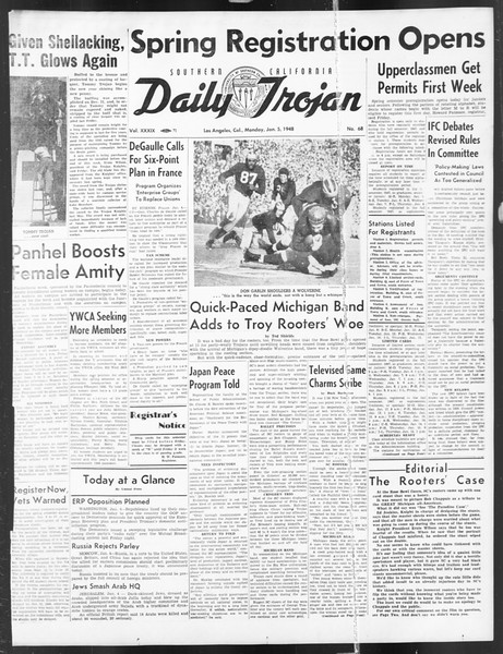 Daily Trojan, Vol. 39, No. 68, January 05, 1948