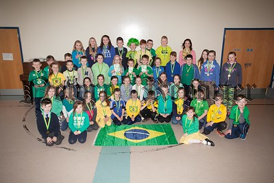 Mullaglass Primary School held a Readolympics recently they are pictured with Author Tracy Bell celebrating World Book Day. R1610016
