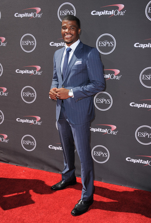 . Buffalo Bills receiver Brad Smith arrives at the ESPY Awards on Wednesday, July 17, 2013, at Nokia Theater in Los Angeles. (Photo by Jordan Strauss/Invision/AP)