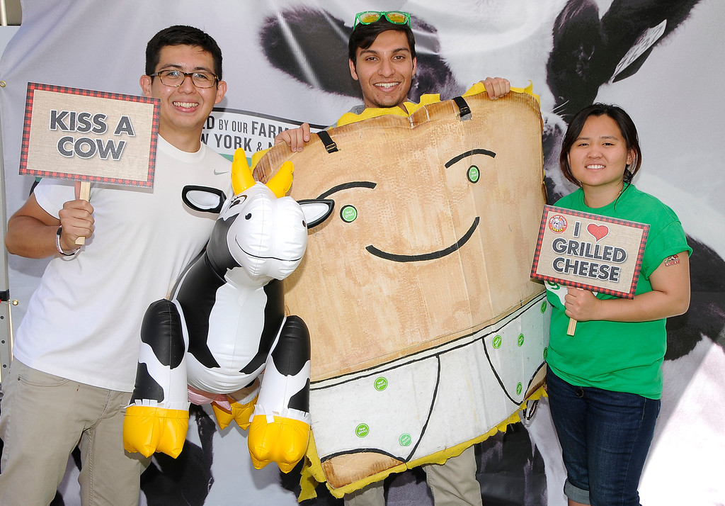 ". Raising money for ""Feel Good\"" charity from UC Riverside are Carlos Yugar, Ashwin Sharma and Huong Tran. The 11th Annual Grilled Cheese Invitational was held Saturday at the Los Angeles Center Studios, 1201 W. 5th Street, in downtown. Cheese lovers came together to sample grilled cheese sandwiches in a variety of incarnations. Los Angeles, CA 4/20/2013(John McCoy/Staff Photographer"