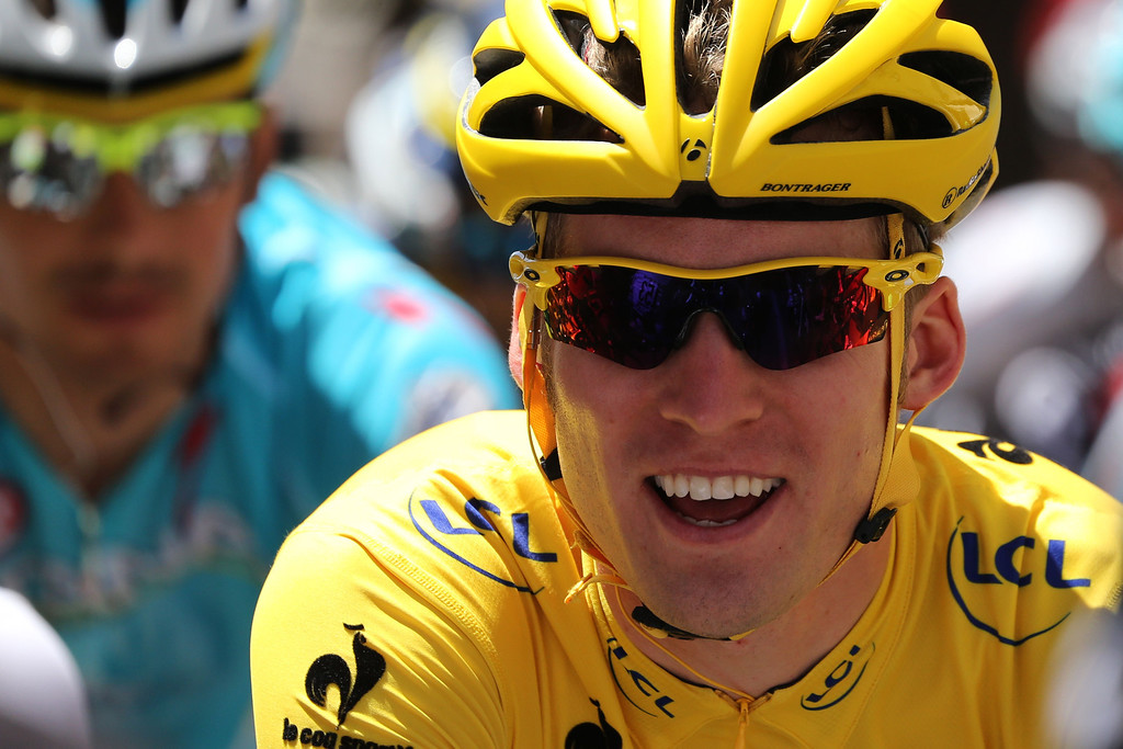 . Overall leader\'s yellow jersey Belgium\'s Jan Bakelants rides during the 145.5 km third stage of the 100th edition of the Tour de France cycling race on July 1, 2013 between Ajaccio and Calvi, on the French Mediterranean Island of Corsica.  AFP PHOTO / PASCAL GUYOT/AFP/Getty Images