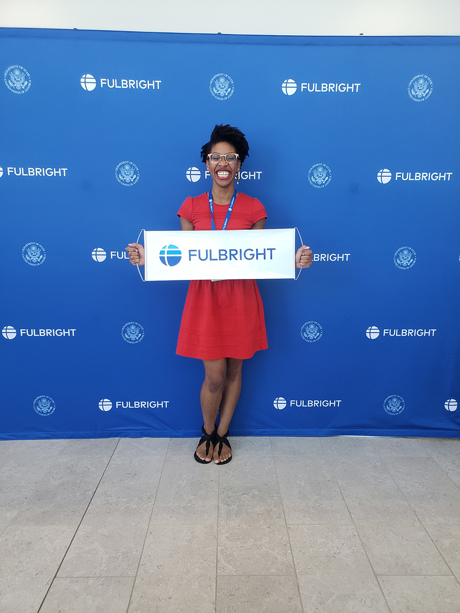 Natalie at the Fulbright Eastern Europe-Eurasia Orientation in Lawrence, KS last July